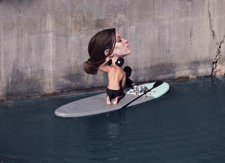 Zie maar! Straat artiest Sean Yoro aan het werk op z'n surfplank!