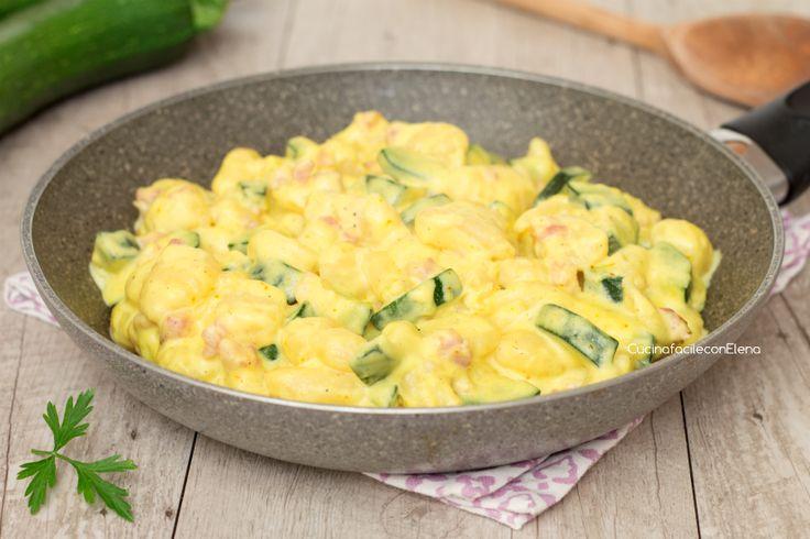 Gnocchi alle zucchine con crema allo zafferano e pancetta