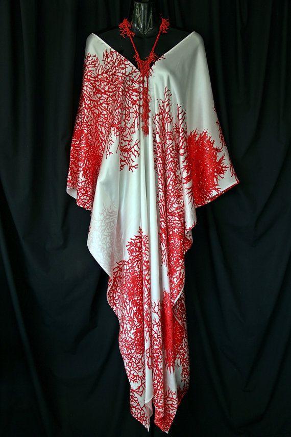 100 Silk Red Coral V neck Kaftan by MollyKaftans on Etsy, $149.00