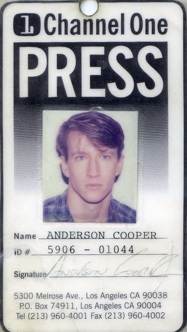 Anderson Cooper's Old Identification Card For   Channel One News.