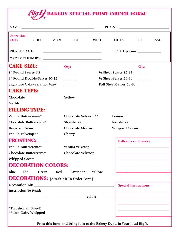 cake order form - Google Search