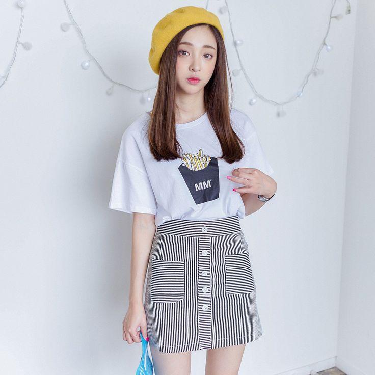 korean fashion cotton printed t shirt fashion