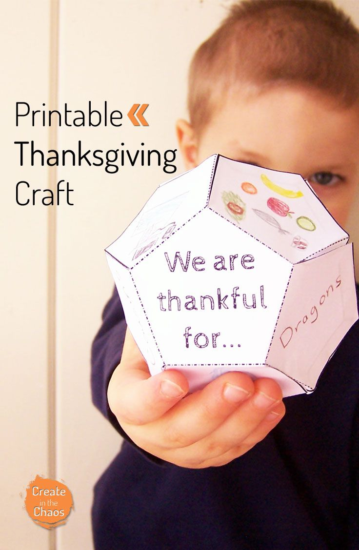 """Printable 3D Thanksgiving kids craft - share all the things you're thankful for with this free printable activity. """"We are thankful for..."""" tetradecahedron www.createinthechaos.com"""
