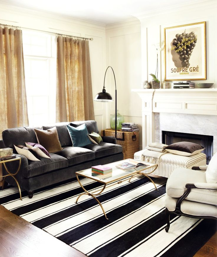 We Love This Bold Striped Rug Paired With A Deep, Rich, Dark Gray Velvet  Sofa Via Ballard Design