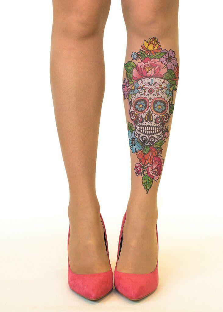 Stop & Stare Printed Sugar Skull Tattoo Sheer Tights - 3