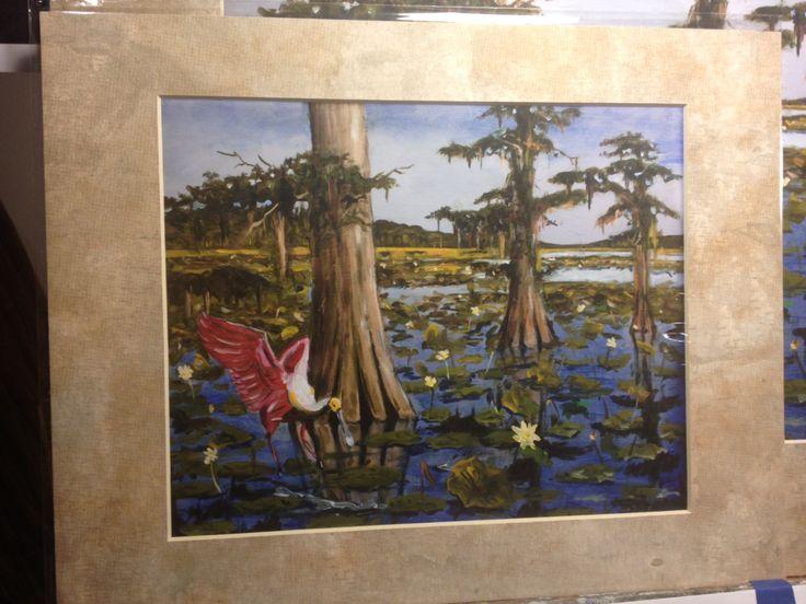 11 x 14 in. Roseate Spoonbill landing on Lake MATTED art print | Swamp painting | Louisiana Art by SenecaArtistStudio on Etsy