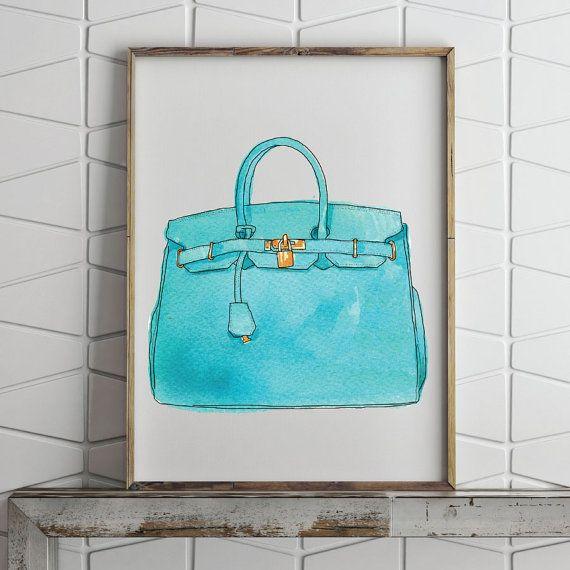 Hermes Birkin borsa acquerello illustrazione unframed stampa Poster - francese, Pop Art, Art Deco, Vintage