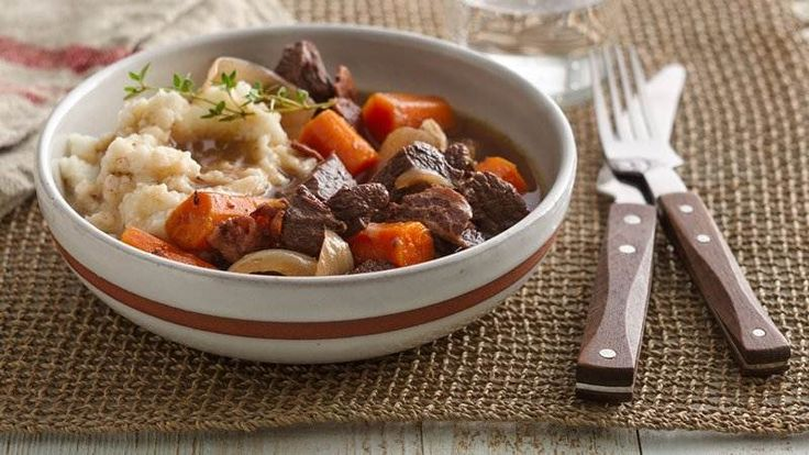 Slow-Cooker Burgundy Stew with Herb Dumplings recipe from Betty Crocker
