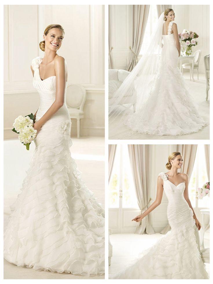 Elegant One Shoulder Mermaid Pleated Wedding Dress with Frilled Skirt