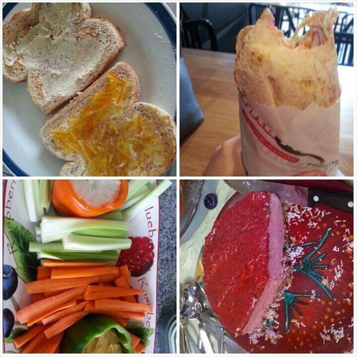 7 Feb 15 B: toast with cashew butter and marmalade L: pita pit D: bbq burger and chicken nibbles D: raw berry cheesecake S: veggies and hummus, cheese and crackers, nut mix