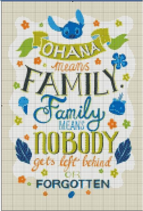 Etsy Shop- Stitch and a Song. Ohana means family and family means nobody gets left behind - Stitch This quote from Disneys Lilo and Stitch makes for an amazing cross stitch
