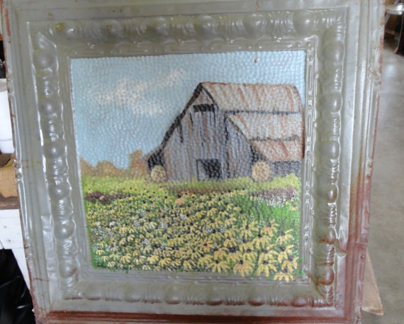 Sale ItemVintage Tin Ceiling Tile Barn and by tennesseehills, $50.00: Tin Ceiling Tiles, Folk Art, Items Vintage Tins, Groovi Things, Sales Items Vintage, Country Kitchens, Art Pictures, Itemvintag Tins, Tins Ceilings Tile