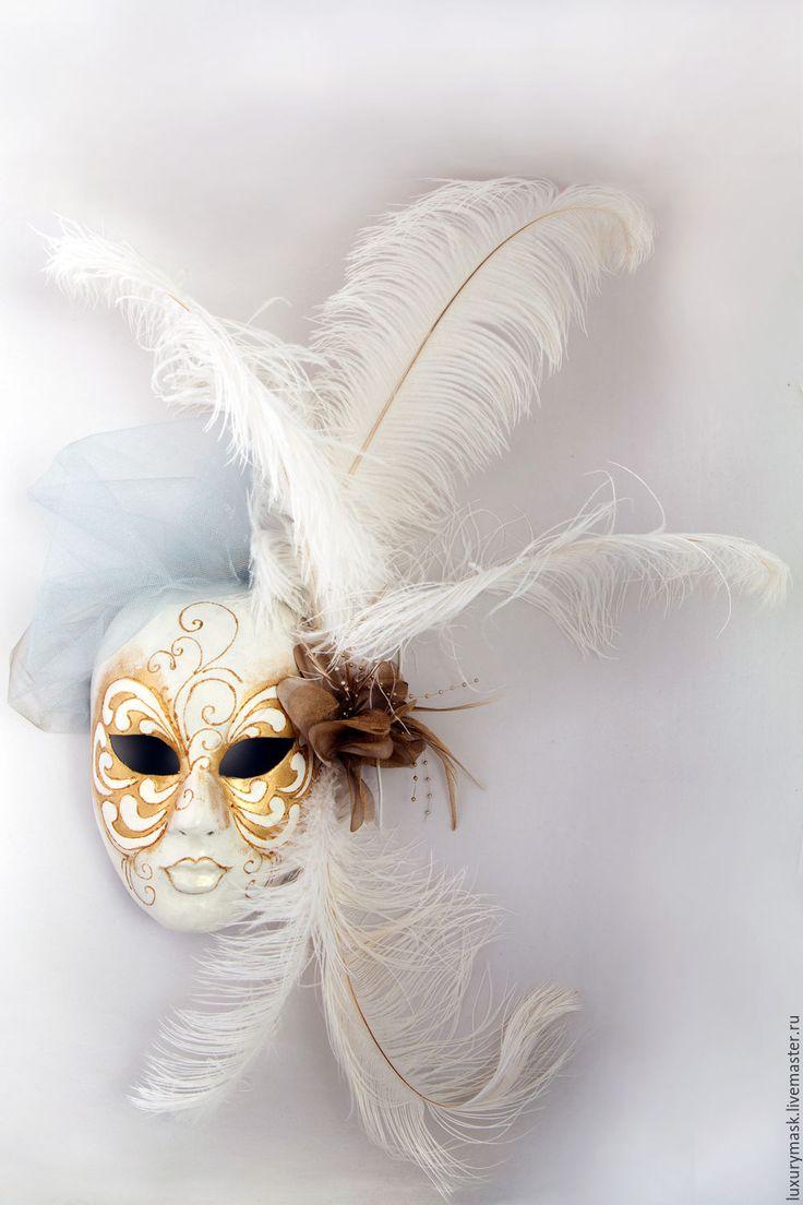 Купить Венецианская маска Fiesta White - белый, венецианская маска, карнавальная маска, маска, венеция
