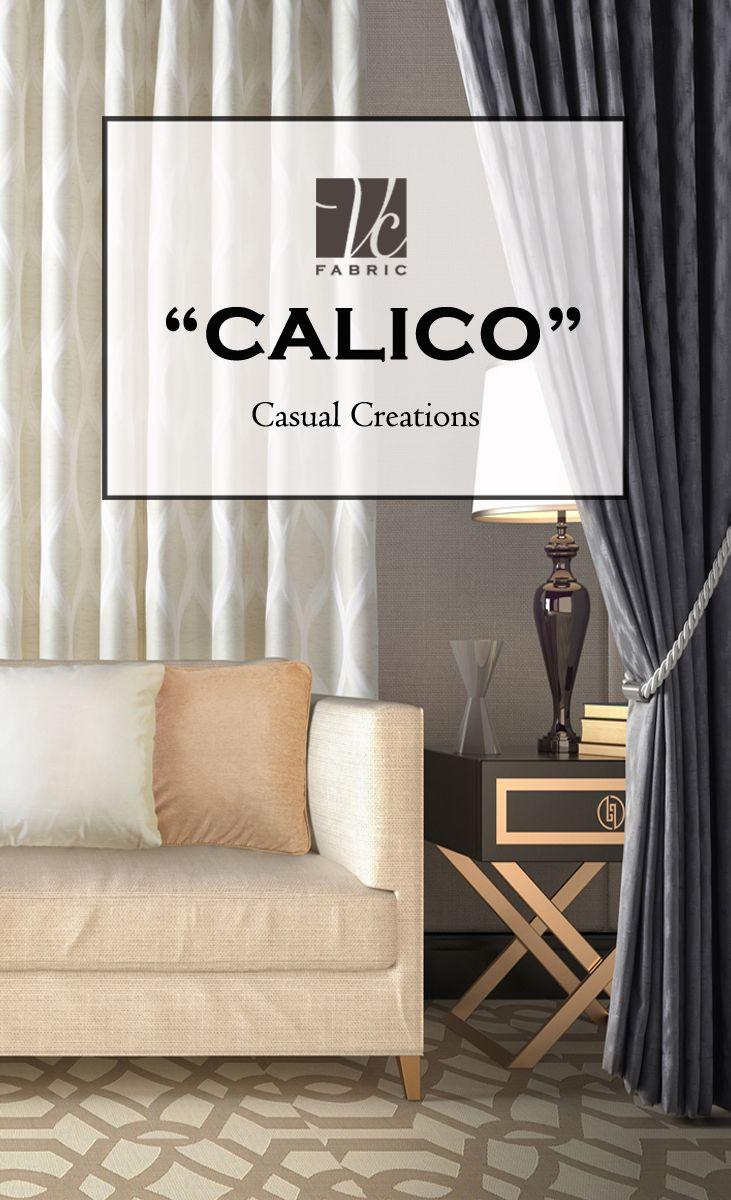 """CALICO"" คอลเลคชั่นผ้านำเข้าที่ช่วยเพิ่มความลื่นไหล อ่อนช้อยให้กับสเปซของคุณได้ ด้วยเทคนิคการทอผ้าสไตล์แจ็คการ์ด บวกกับการนำแรงบันดาลใจจากลายกราฟิก มาดีไซน์ใหม่ เพิ่มความผ่อนคลายด้วยเทคนิคการทอแบบแฮนด์เมด ดุจเส้นไหมสอดประสาน แต่ยังคงความทันสมัย เรียบหรู มีสไตล์… สนใจสินค้า สามารถมาเลือกชมได้ที่ Showroom VC Fabric Vichit Bldg., Sukhumvit 71 Road, Suanluang, Bangkok Call Center 02-769-6000 หรือที่ CDC อาคาร F ชั้น 2 และร้านตัวแทนจำหน่ายสินค้าจาก VC Fabric ทั่วประเทศ"