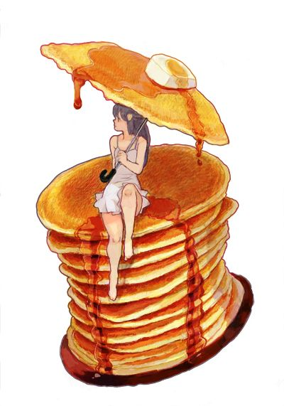 pancake umbrella #watercolor