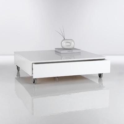Table basse carrée blanche à roulettes + 2 tiroirs de rangement