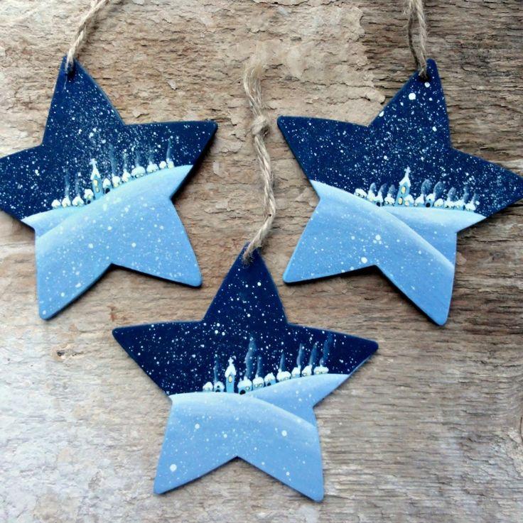 Malovaná hvězdička - zimní vesnička