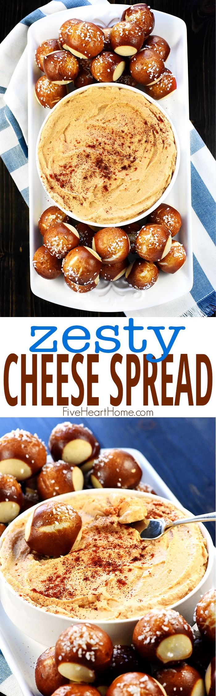 Zesty Cheese Spread ~ quick to make, delicious on pretzels, crackers, or raw veggies, and a perfect recipe for Super Bowl Sunday! | FiveHeartHome.com via @fivehearthome