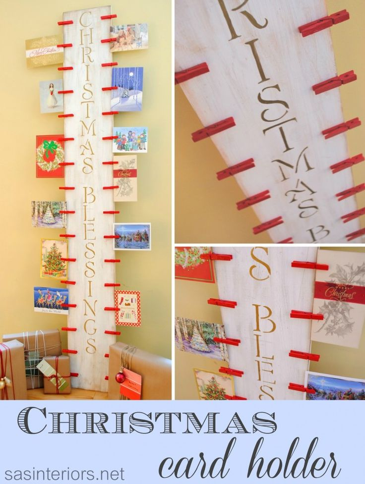 DIY: Easy-to-create Christmas Card Holder with 6' piece of wood and clothespins by @Jenna_Burger via sasinteriors.net #LowesCreator #LowesCreativeIdea