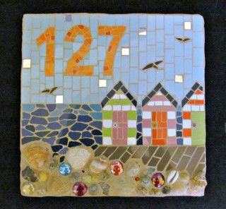 Decorative House Number Mosaic by Handmade by Hippo - Beach Style - House Numbers - by Etsy