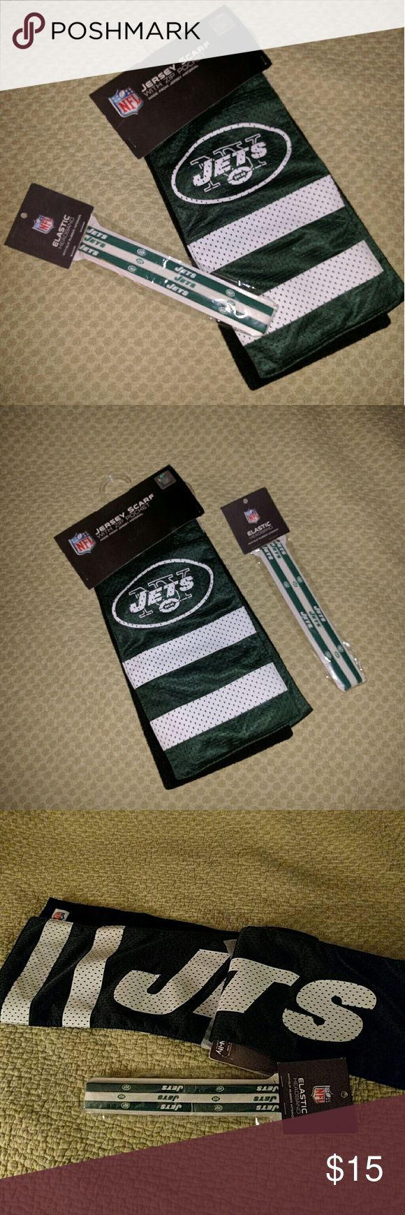NY JETS jersey scarf and free headbands Adorable green and white New York JETS Jersey scarf and free JETS headbands. 4 elastic headbands in pack. Scarf has a pocket!! 2 scarves and headband packages available. ProFaNity Accessories Scarves & Wraps
