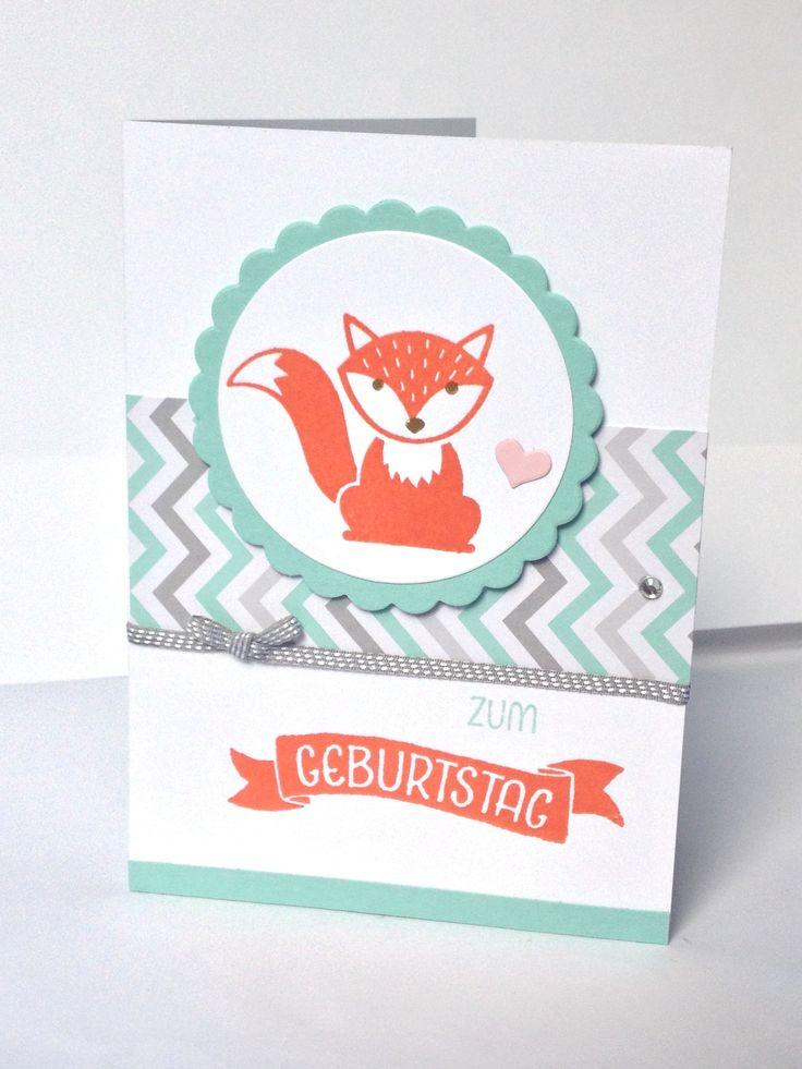 """Geburtstagskarte mit den süßen Fuchs aus """"Foxy Friends"""" - gestempelt und dann gestempelt, das dazu passende Designerpapier und das Schleifenband in schiefergrau. Der Gruß in Calypso stammt aus dem Set """"So viele Jahre"""" (stampin up) https://luxusbasteln.wordpress.com/"""
