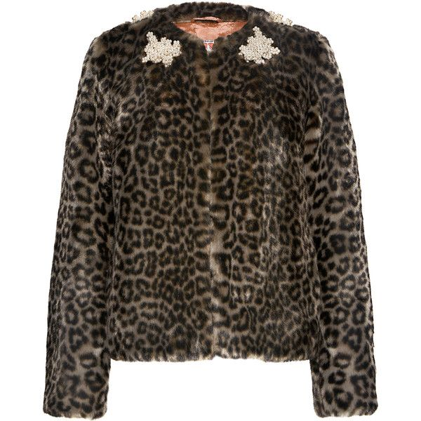 Shrimps - Duncan Leopard Embellished Faux Fur Coat (2.292.060 COP) ❤ liked on Polyvore featuring outerwear, coats, collarless faux fur coat, leopard faux fur coat, short coat, shrimps coat and leopard coat