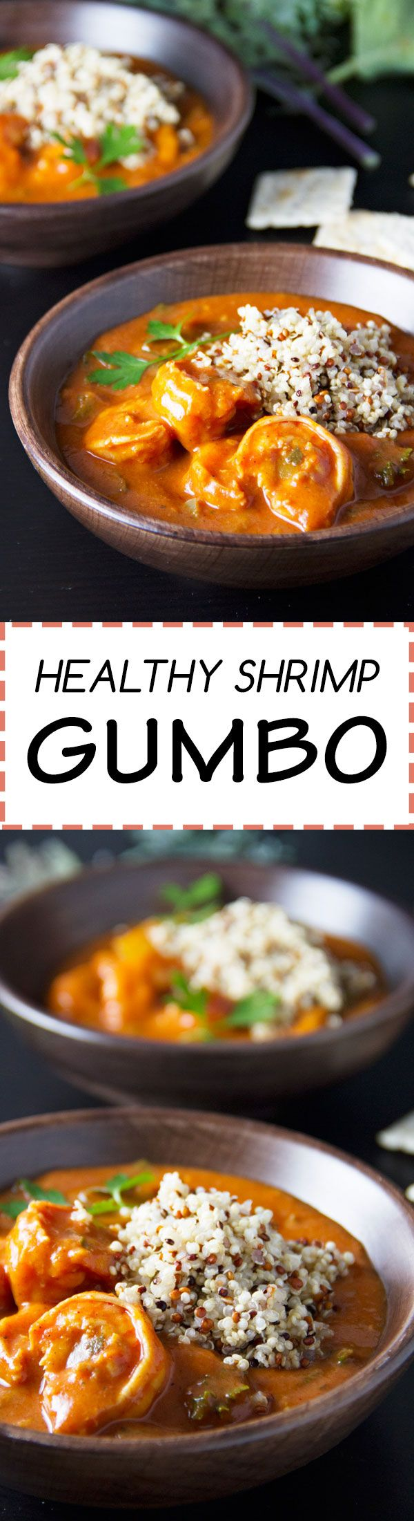 Healthy Shrimp Gumbo with quinoa and green peppers!
