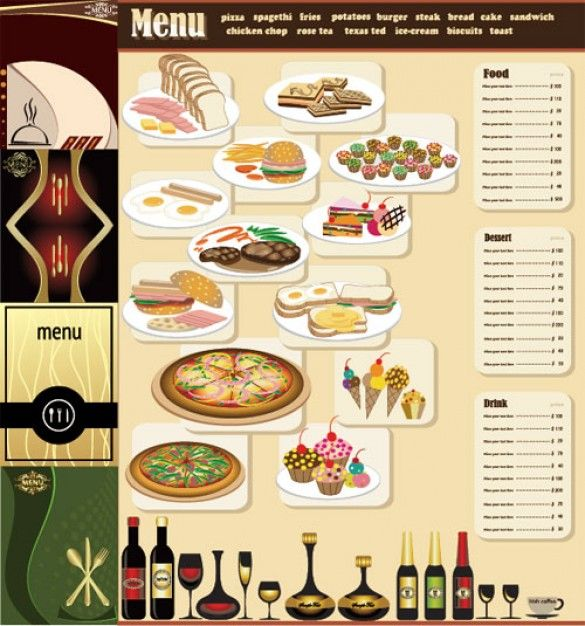 Free table top restaurant menu templates breakfast menu for Table menu restaurant