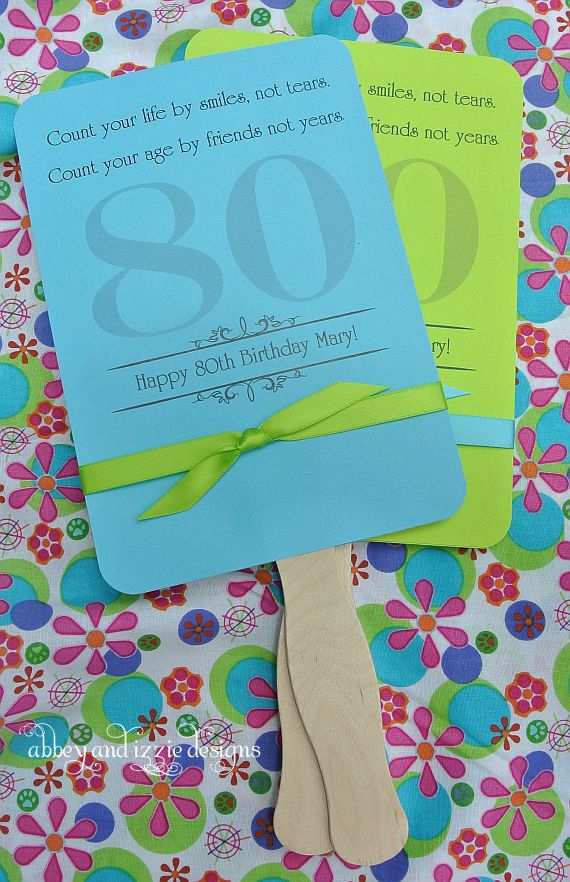Adult Birthday Favor Fans by abbey and izzie designs on Etsy #80thbirthday, #adultbirthday, #milestonebirthday,