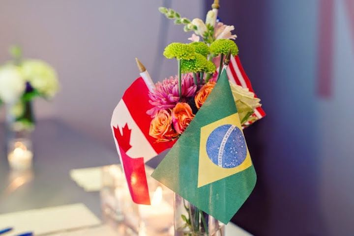 Canada and Brazil Flags in the Floral arrangement. http://www.fusion-events.ca/