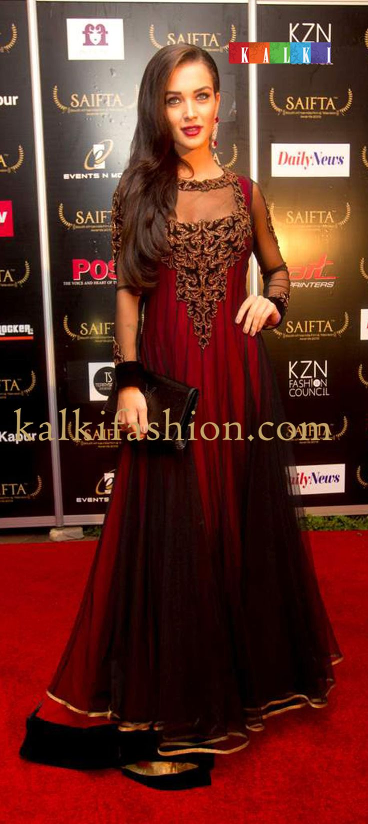 http://www.kalkifashion.com/ Amy Jackson in a red and black anarkali suit at the red carpet of SAIFTA