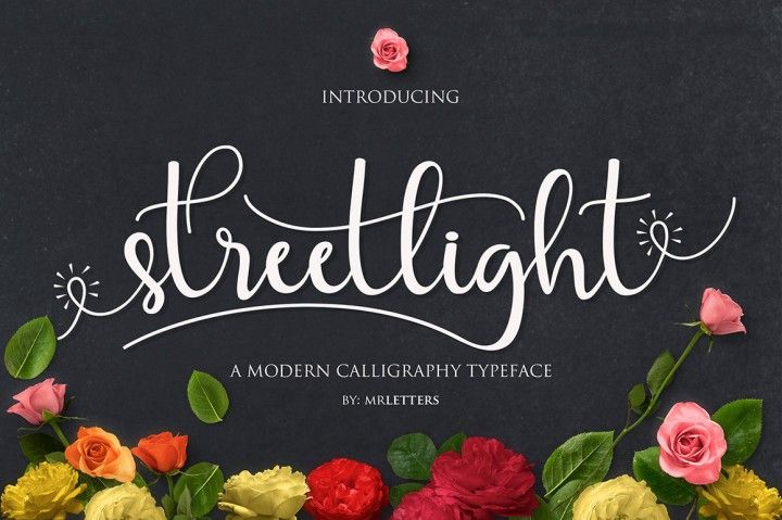 Introducing Streetlight Script Streetlight Script a new fresh & modern script with a handmade calligraphy style, decorative characters and a dancing baseline! So beautiful on invitation like greeting cards, branding materials, business cards, quotes, posters, and more!! Streetlight Script come with 459 glyphs. The alternative characters were divided into several Open Type features such as Swash, Stylistic Sets, Stylistic Alternates, Contextual Alternates. T&a