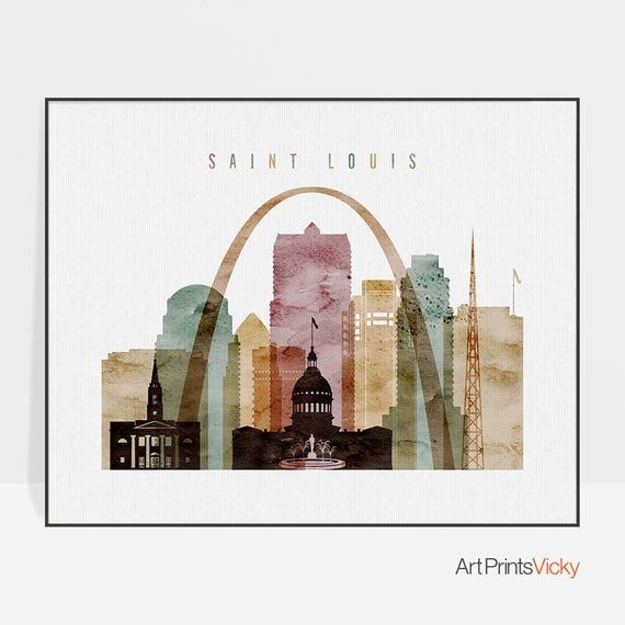 Saint Louis Skyline Saint Louis Print Poster St Louis Wall Art
