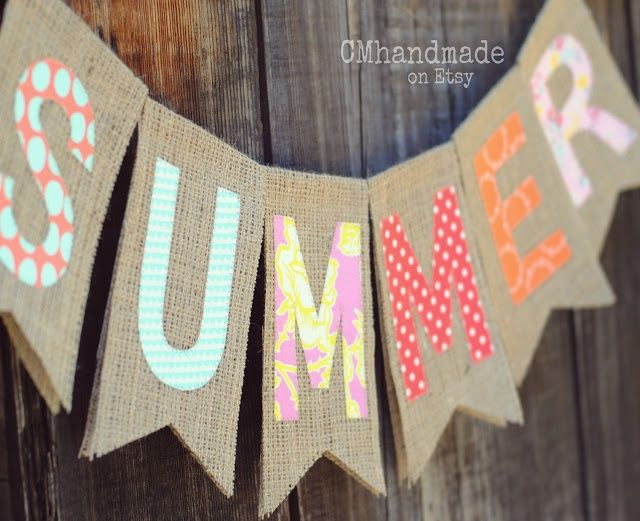 """Make this banner with brown paper bags cut like this for the """"Outdoor Party""""."""