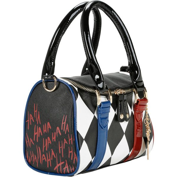 DC Comics Suicide Squad Harley Quinn Mini Barrel Bag Hot Topic ($15) ❤ liked on Polyvore featuring bags, handbags, shoulder bags, mini purses, mini shoulder bag, stripe handbag, miniature purse and mini barrel bag