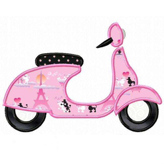 Paris Pretty Scooter Applique Design