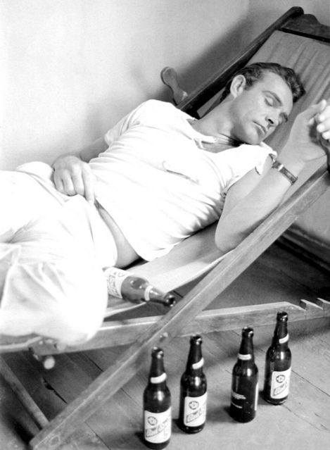 "Sean Connery (August 25, 1930 -) relaxing on the set of ""Dr. No"", 1962. age 32"