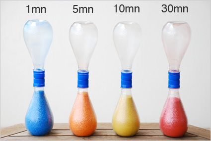 comment fabriquer des sabliers de différentes durées avec des bouteilles d'orangina