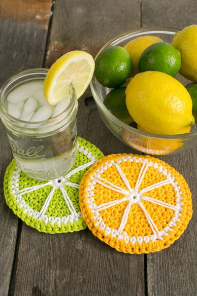 Lime and Lemonade Coasters - Nothing says summer more than a lemonade stand, so refresh your memory of lazy summer days past with these adorable coasters. Mix it up by using orange yarn for orange slices or pink yarn for grapefruit slices and brighten up your breakfast table. From the August 2015 issue of I Like Crochet