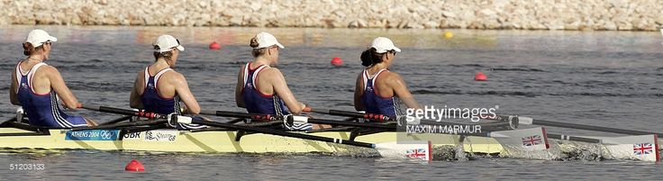 British Alison Mowbray (B), Debbie Flood, Frances Houghton and Rebecca Romero compete in the women's quadruple sculls final to win the silver medal 22 August 2004 at the Schinias rowing and canoeing center during the 2004 Athens Olympics Games.