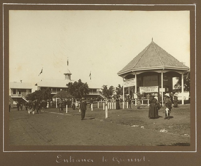 Main entrance to the Exhibition ground, Brisbane, 1912, via @slqld