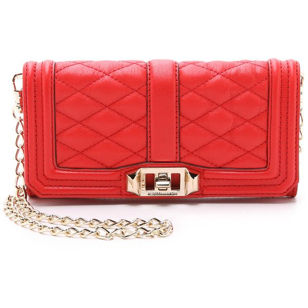 Rebecca Minkoff Mini Love Wallet Bag ($175) ❤ liked on Polyvore featuring bags, handbags, shoulder bags, cherry, rebecca minkoff handbags, leather flap handbag, red shoulder bag, leather handbags and red handbags