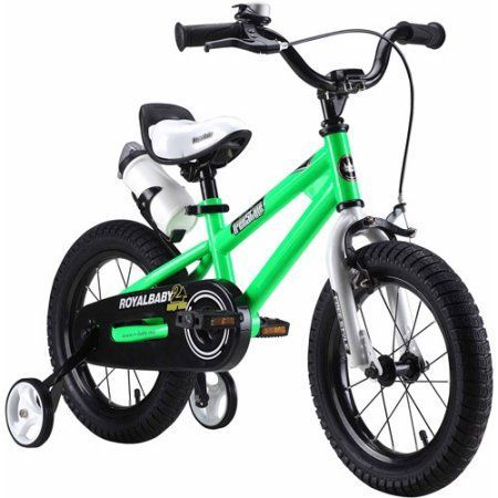 RoyalBaby BMX Freestyle Kids Bike, Boy's Bikes and Girl's Bikes with training wheels, Gifts for children, 16 inch wheels, Green