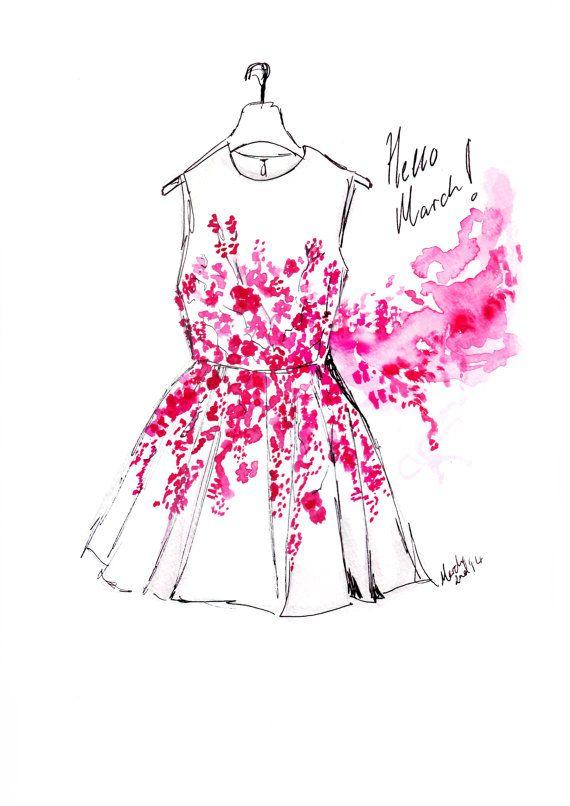Watercolour fashion illustration Titled Hello March