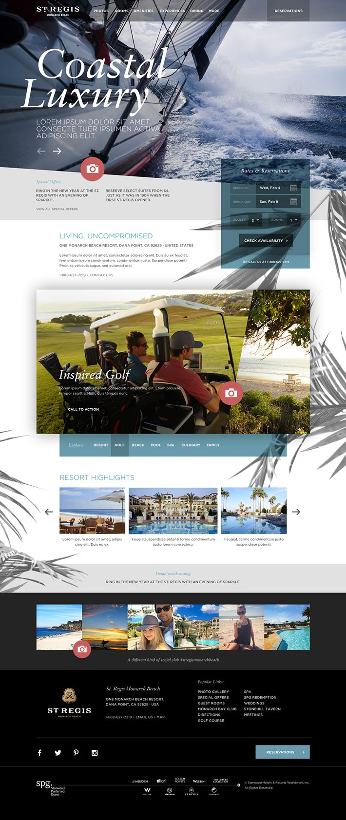 St Regis Monarch Beach : Resort Website Sketch by Agency Dominion