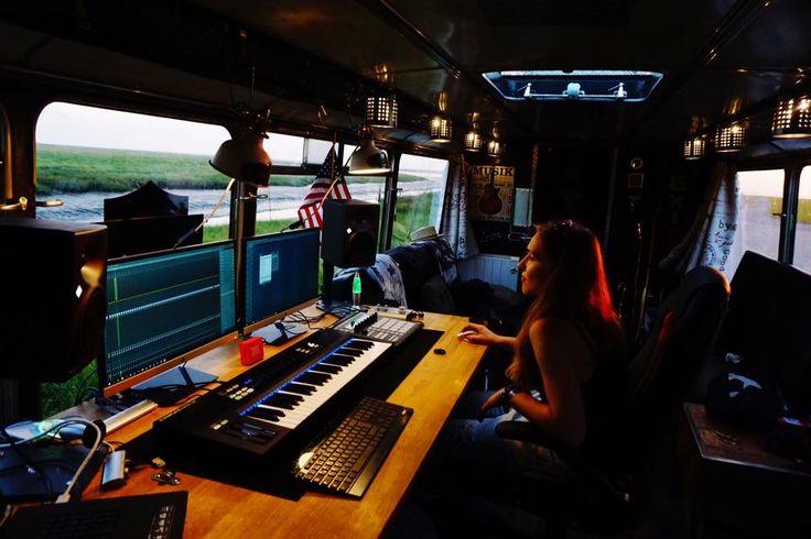 A solar powered mobile recording studio inside of a Oldtimer Bus from 1969. #OldtimerBus1969 #Solar #Powered #Mobile #Recording #Studio #DIY