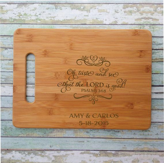 Oh taste and see that the Lord is good Psalms 34:8 Cutting Board Personalized Bamboo Engraved & Eco-Friendly Bible Verse Psalm 34