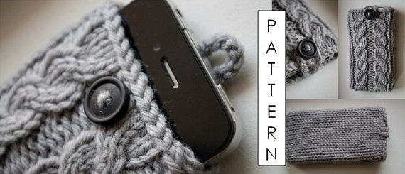 Kare Knits' Signature Cable Knit iPhone Case - KNITTING PATTERN ONLY (updated to include pattern for iPhone 5) - Digital Download