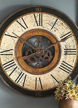 Exposed gears and handsome brass details come together to create the Brass Works Clock that will enliven any wall in your home.